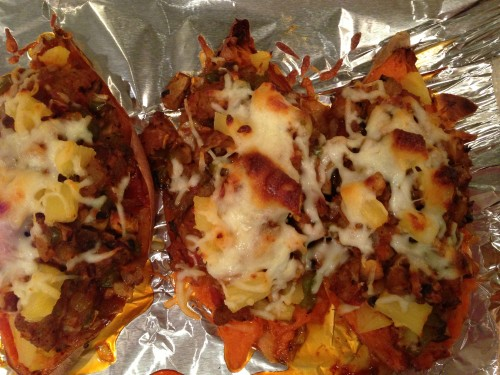 Pizza Stuffed Sweet Potatoes Recipe