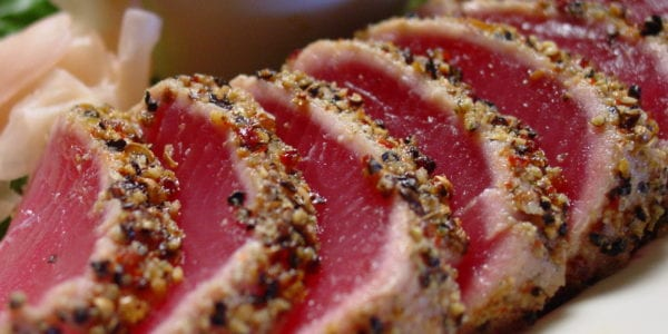 Ahi tuna slices on a plate