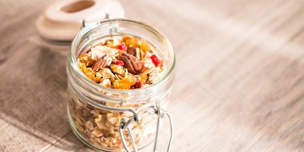 Image of trail mix in a mason jar.
