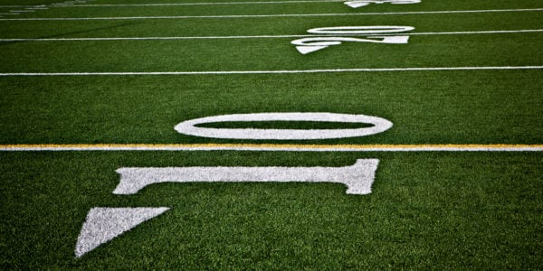 ten yard line on a football field