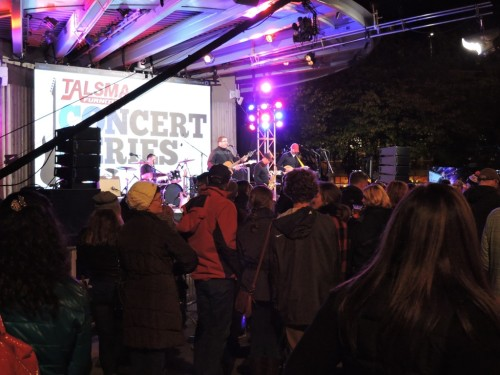 ArtPrize revelers enjoyed a free concert at Rosa Parks Circle after the winners were announced.