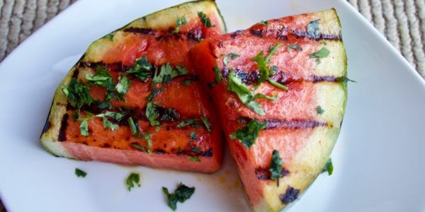 Grilled watermelon on a plate