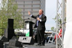 Mayor Mike Duggan speaks at the Beacon Park grand opening.