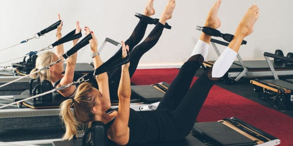 Women doing pilates.