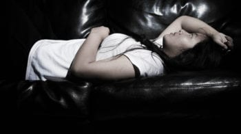 Girl laying on couch.