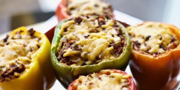 Bell peppers with cheese and stuffing.