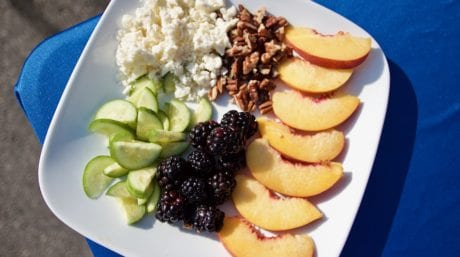 ingredients for peach, blackberry and cucumber salad