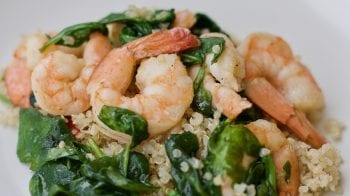 garlic shrimp and spinach over quinoa