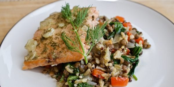 dijon mustard salmon with warm spinach quinoa and lentil salad
