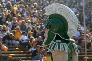 Sparty during a sporting event