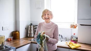 Senior woman in her kitchen.