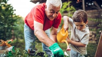Grandfather and grandson working together in the garden.