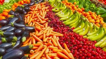Large selection of fruits and vegetables at a market