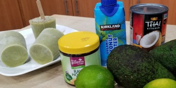 Avocado Paletas and ingredients